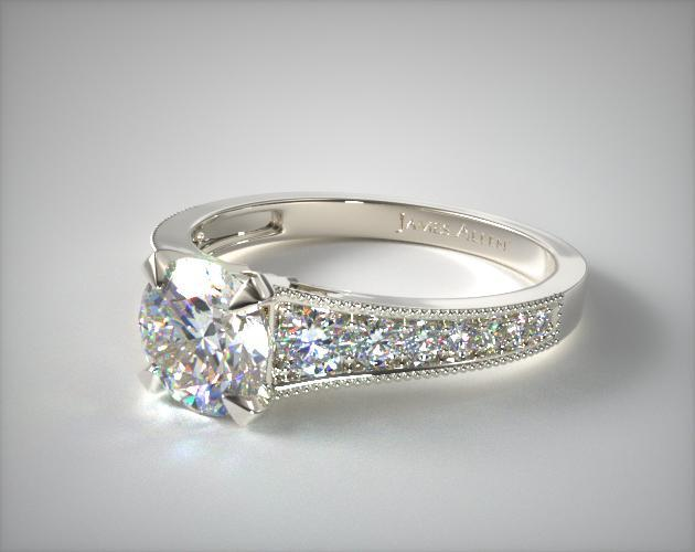 14K White Gold Reverse Taper Milgrain Diamond Engagement Ring
