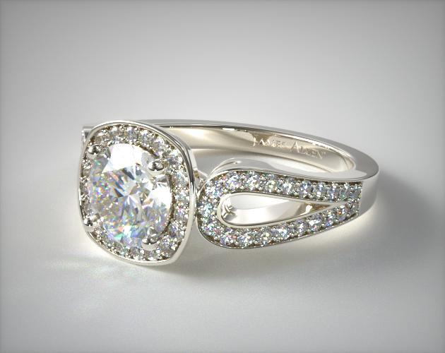 14K White Gold Cushion Outline Open Loop Diamond Engagement Ring