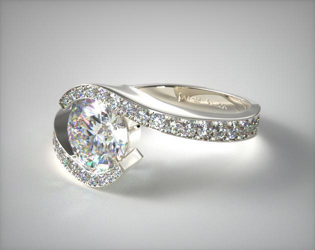 18K White Gold Bypass Pave Set Diamond Engagement Ring