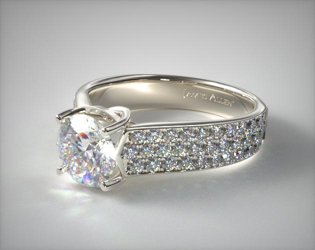 14K White Gold Cross Prong Pave Set Diamond Engagement Ring
