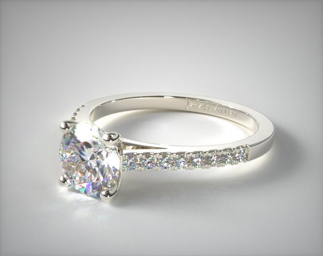 18K White Gold Petite Pave Cathedral Engagement Ring