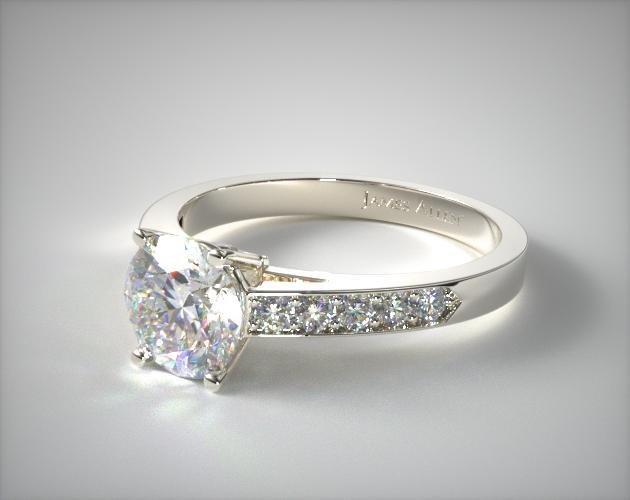 Platinum  Pave Set Surprise Diamond Engagement Ring