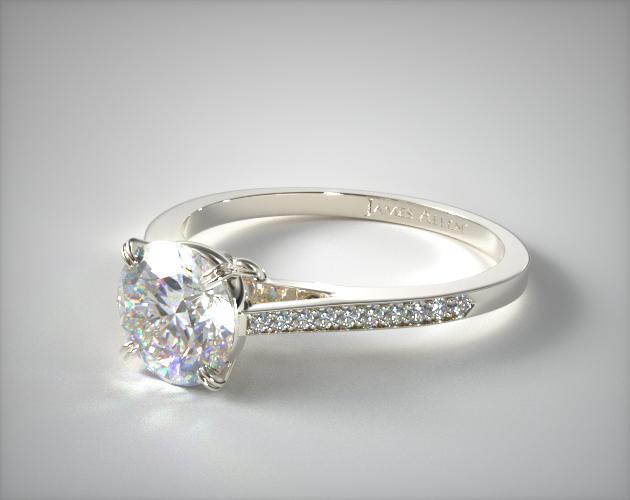 14K White Gold Double Claw Prong 0.18ct Pave Set Surprise Diamond Engagement Ring
