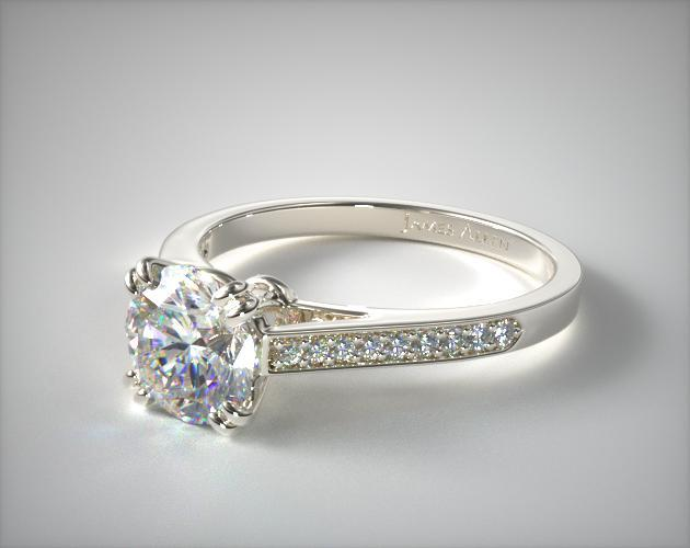 14K White Gold Double Claw Prong 0.16ct Pave Set Diamond Engagement Ring