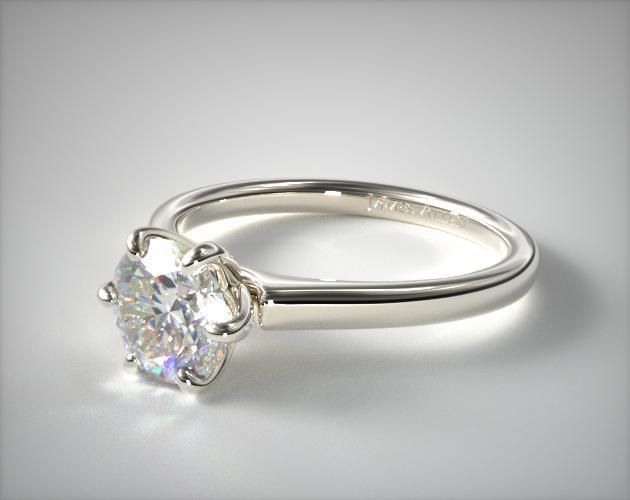 14K White Gold Tapered Six Prong Diamond Engagement Ring