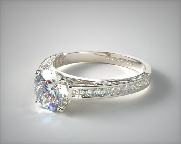 14k White Gold Engraved Channel Set Carre Shaped Diamond Engagement Ring
