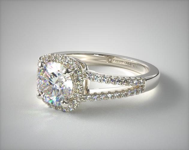 engagement rings halo platinum cushion halo split shank diamond engagement