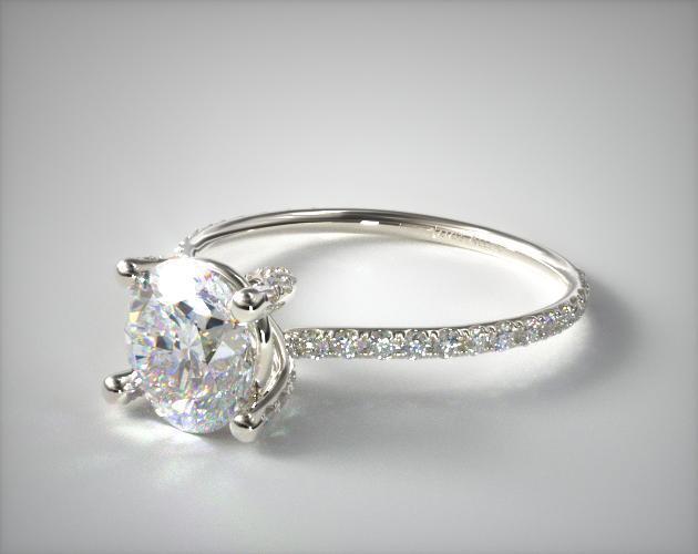 14K White Gold Twist Pave ZE102 by Danhov Designer Engagement Ring