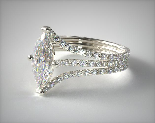 18K White Gold Three Row Pave ZE118 by Danhov Designer Engagement Ring