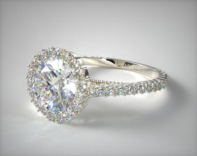 14K White Gold Halo Pave XE101 by Danhov Designer Engagement Ring