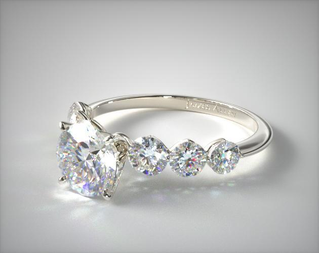 14K White Gold Scalloped Shared Prong Engagement Ring