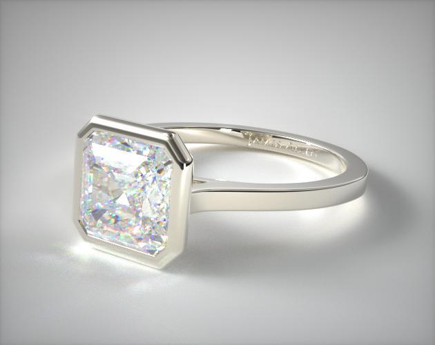 18K White Gold Bezel Solitaire Engagement Ring (Asscher Center)