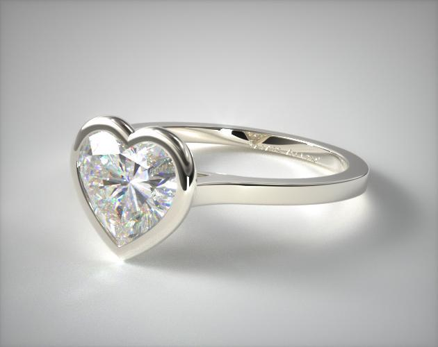 Platinum Bezel Solitaire Engagement Ring (Heart Center)
