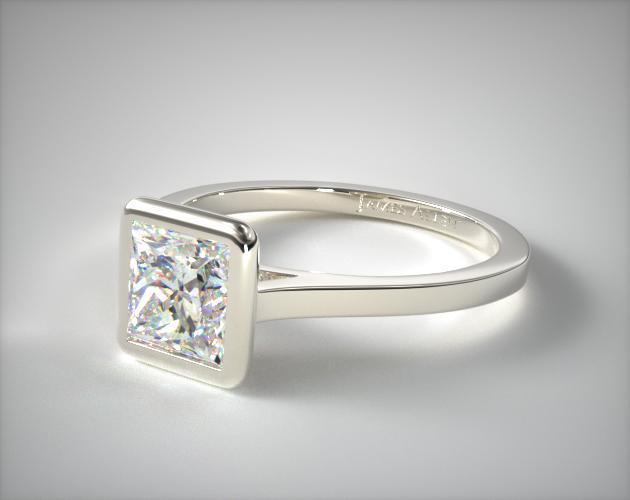 14K White Gold Bezel Solitaire Engagement Ring (Princess Center)