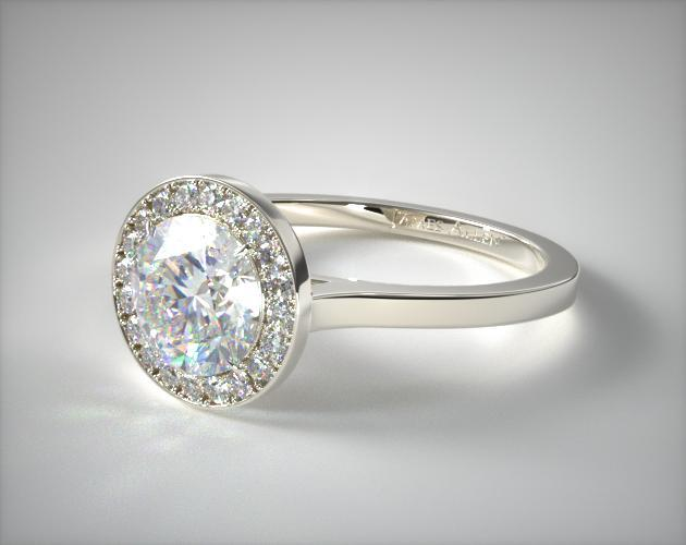 Platinum Pave Halo Engagement Ring (Round Center)