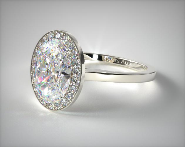 14K White Gold Pave Halo Engagement Ring (Oval Center)