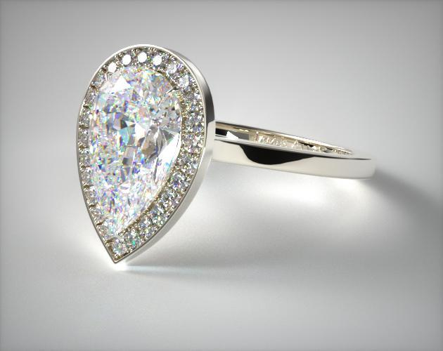14K White Gold Pave Halo Engagement Ring (Pear Center)