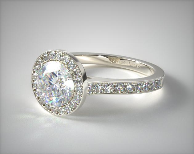 18K White Gold Pave Halo & Shoulders Engagement Ring (Round Center)