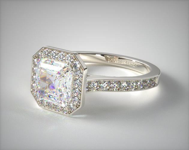 14K White Gold Pave Halo & Shoulders Engagement Ring (Asscher Center)