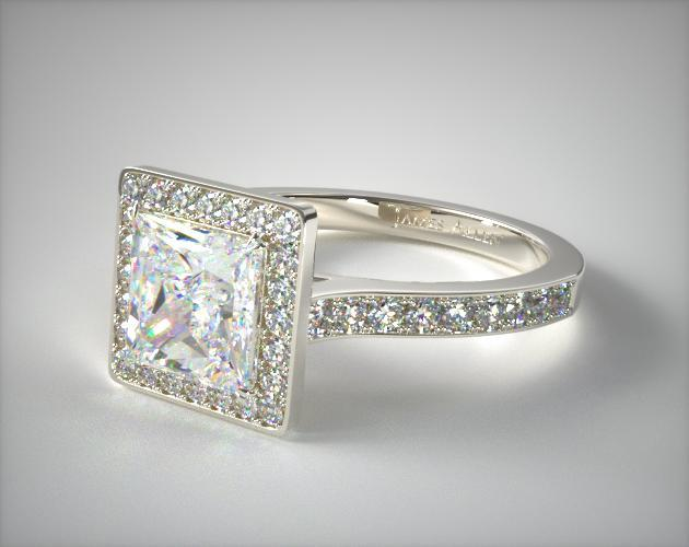 14K White Gold Pave Halo & Shoulders Engagement Ring (Princess Center)