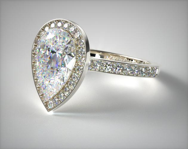 Platinum Pave Halo & Shoulders Engagement Ring (Pear Center)