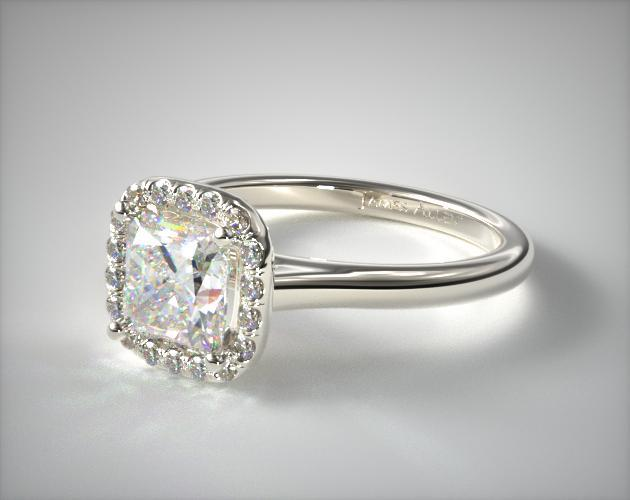 Platinum Pave Halo Diamond Engagement Ring (Cushion Center)