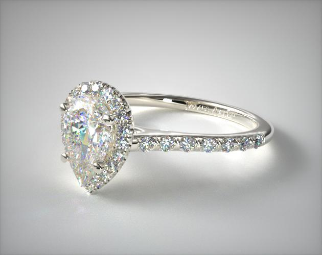 14K White Gold Pave Halo and Shank Diamond Engagement Ring (Pear Center)