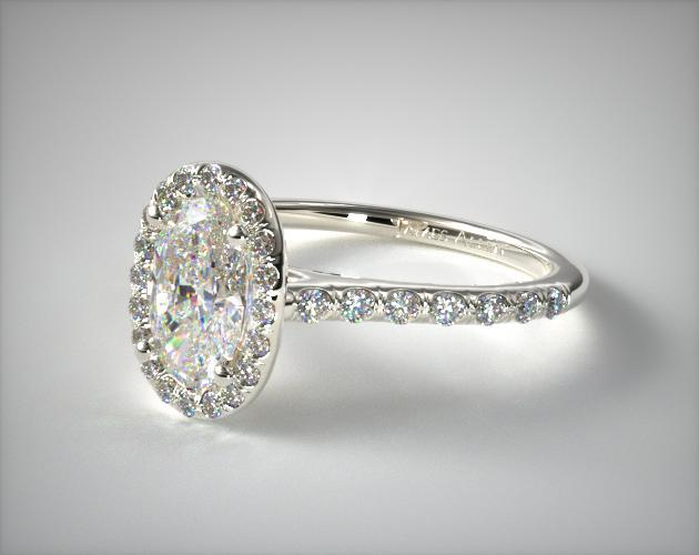 18K White Gold Pave Halo Diamond Engagement Ring (Oval Center)