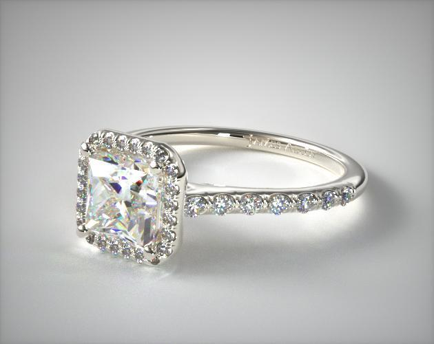 14K White Gold Pave Halo Diamond Engagement Ring (Princess Center)