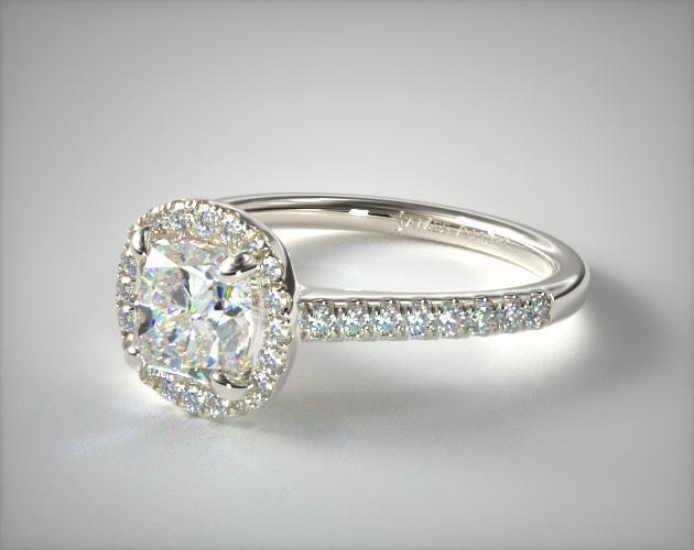 18K White Gold Pave Halo Diamond Engagement Ring (Cushion)