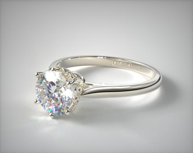 18K White Gold Spring Blossom Six Prong Solitaire Engagement Ring