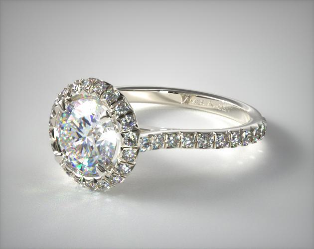 14K White Gold  Hand Made Pave Halo Engagement Ring (Round Center)