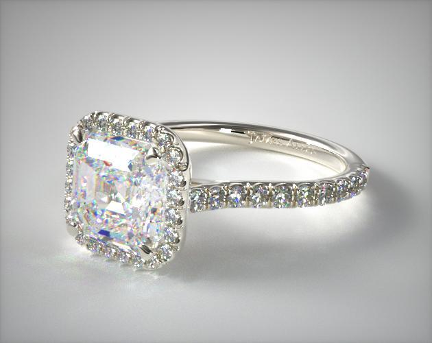 14K White Gold Pave Set Engagement Ring (Asscher Center)