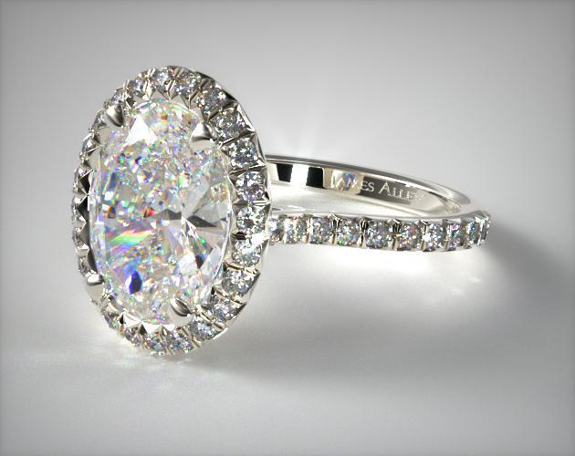 14K White Gold Pave Set Engagement Ring (Oval Center)