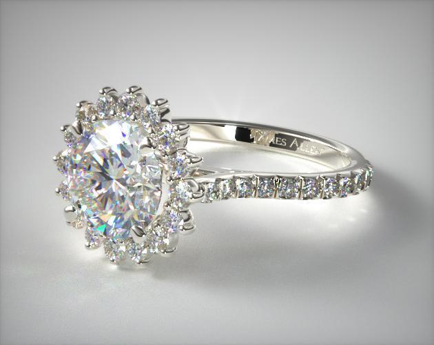 14K White Gold Diamond Pave Sunburst Engagement Ring