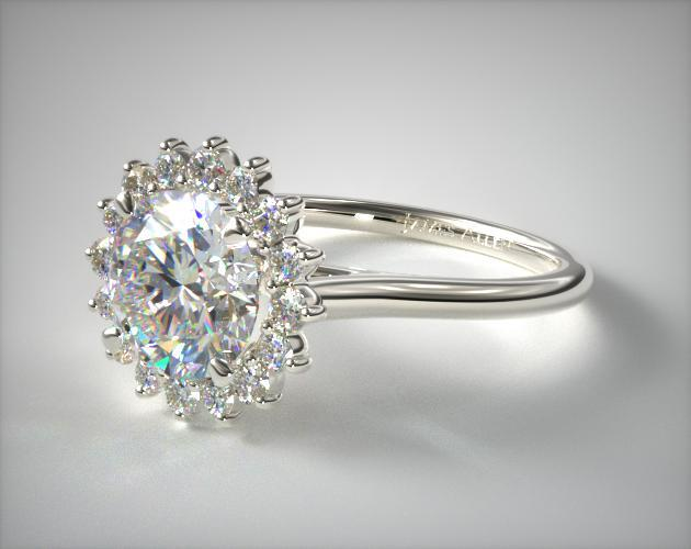 Platinum Diamond Pave Sunburst Engagement Ring