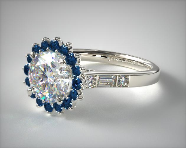 14K White Gold Blue Sapphire Sunburst and Baguette Engagement Ring