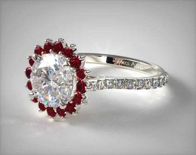 14K White Gold Ruby Pave Sunburst Engagement Ring
