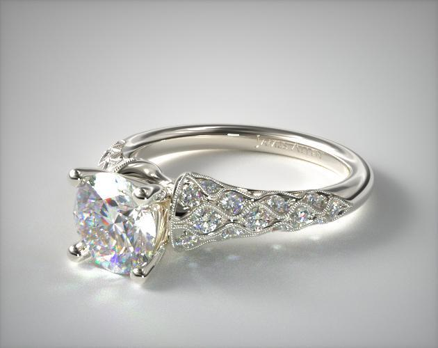 18K White Gold Wide Shoulder Pave Engagement Ring