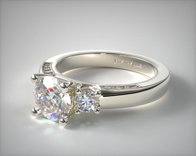 18K White Gold Round Brilliant and Pave Accents Engagement Ring