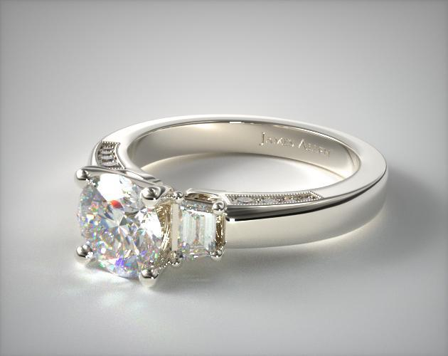 18K White Gold Trapezoid and Pave Accents Engagement Ring