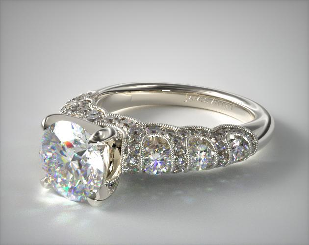 14K White Gold Six Stone Pave Encased Swag Engagement Ring