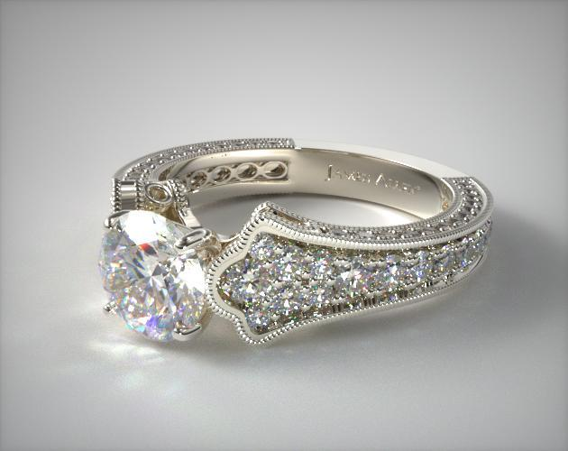 14K White Gold Scallop Edge Pave Engagement Ring