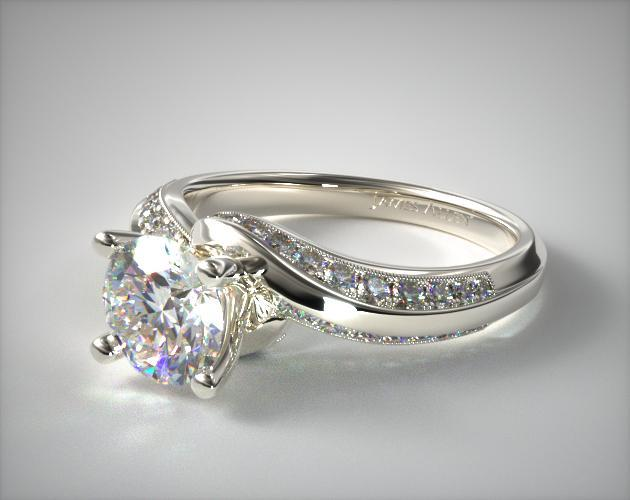 Platinum Pave Twist Engagement Ring