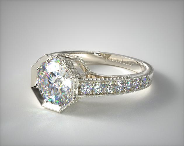 18K White Gold Zinnia Inspired Geometric Engagement Ring