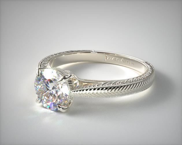 18K White Gold Fluted Basket Diamond Engagement Ring