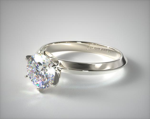 18K White Gold 2mm Knife Edge Solitaire Engagement Ring (Six Prong)