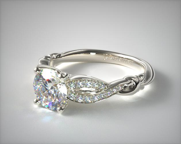 14K White Gold Pave Crossover Engagement Ring