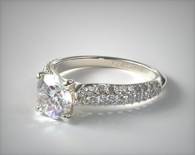 18K White Gold Graduated Triple Row Pave Engagement Ring