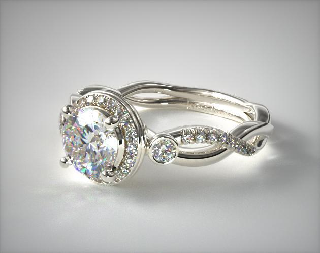 Platinum Floral Scallop Twisted Engagement Ring